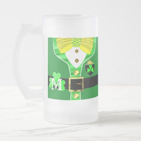 Irish Drinkers Fun Monogrammed Frosted Glass Beer Mug
