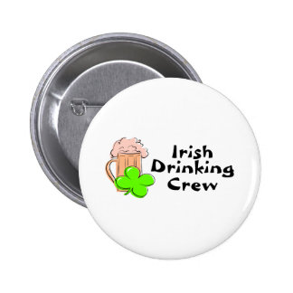 Irish Drinking Crew Beer And Clover Button