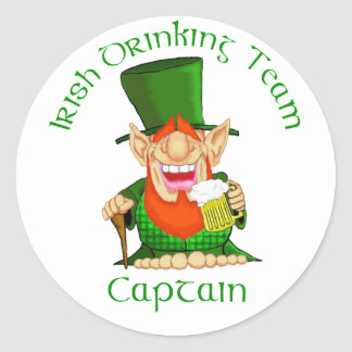 Irish Drinking Team ~ Captain Classic Round Sticker
