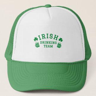Irish drinking team, clover leaf and beer trucker hat