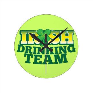 Irish Drinking TEAM Round Clock