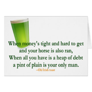 Irish Drinking Toast St. Patrick's Day Card