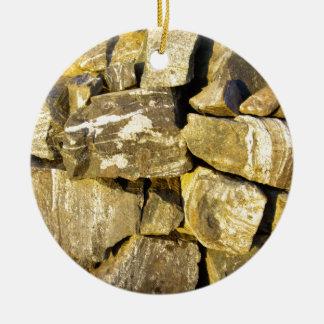 Irish Dry stone wall. Double-Sided Ceramic Round Christmas Ornament