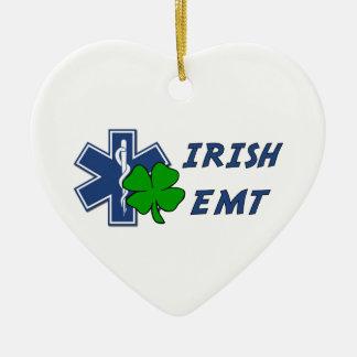 Irish EMT Double-Sided Heart Ceramic Christmas Ornament
