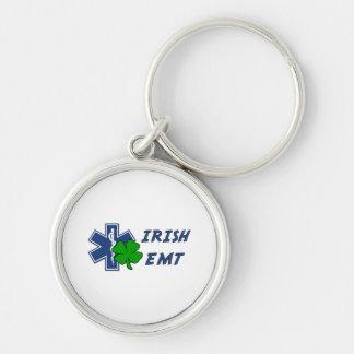 Irish EMT Silver-Colored Round Keychain