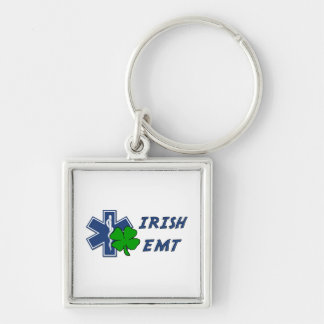 Irish EMT Silver-Colored Square Keychain