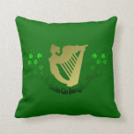 Irish Erin Go Bragh Ireland Harp and Clover Throw Pillow