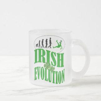 Irish evolution frosted glass coffee mug