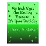 Irish Eyes Birthday Postcard