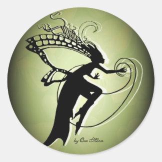 Irish Faery Silhouette Classic Round Sticker