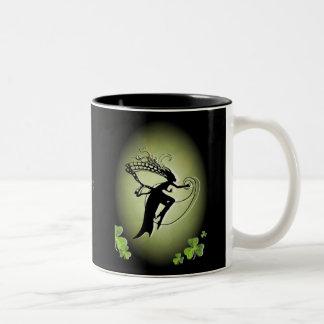Irish Faery Silhouette Two-Tone Coffee Mug