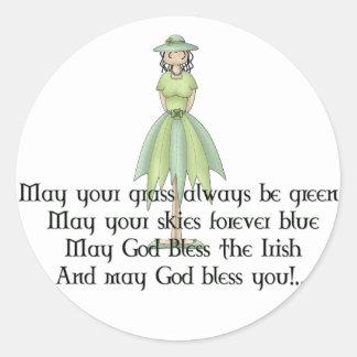 Irish Fairy Girl 1 - Irish Quote Classic Round Sticker