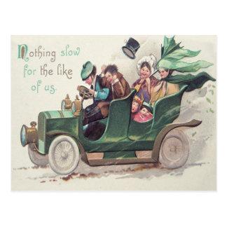 Irish Family Antique Car Driving Postcard
