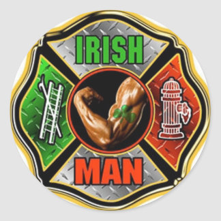 Irish Fire fighter Classic Round Sticker