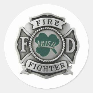Irish Firefighter Badge Classic Round Sticker