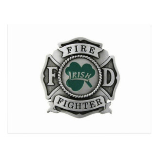 Irish Firefighter Badge Postcard