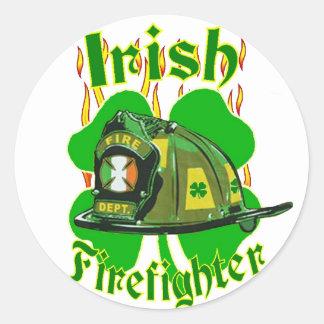 Irish firefighter classic round sticker