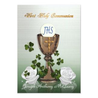 Irish First Communion invitation with shamrocks