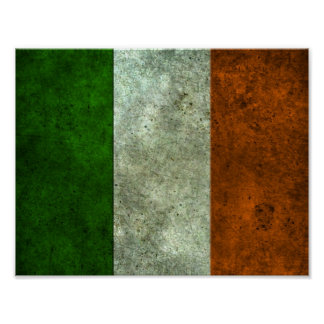 Irish Flag Aged Steel Effect Poster
