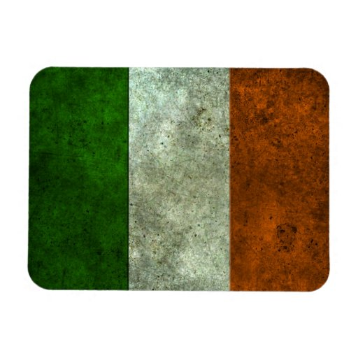 Irish Flag Aged Steel Effect Rectangular Magnets