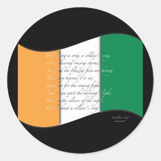 Irish flag/Anthem Classic Round Sticker