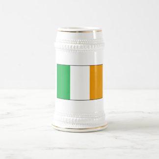 Irish Flag Beer Stein with Shamrocks Mug