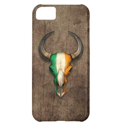 Irish Flag Bull Skull on Wood Effect Cover For iPhone 5C