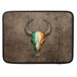 Irish Flag Bull Skull on Wood Effect MacBook Pro Sleeves