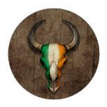 Irish Flag Bull Skull on Wood Effect Poker Chips