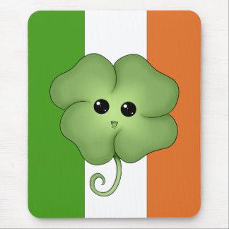 Irish Flag & Chibi Clover Mousepad