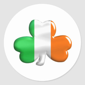 Irish Flag Clover Classic Round Sticker