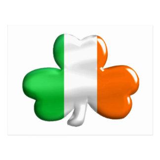 Irish Flag Clover Postcard