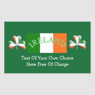 Irish Flag Colors Themed Shamrock Rectangular Sticker