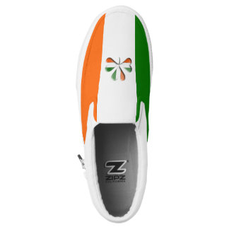 Irish Flag Colors Themed Shamrock Slip-On Sneakers
