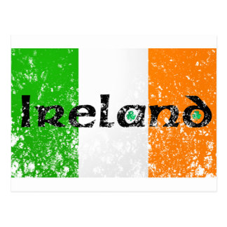 Irish Flag Distressed Look Postcard