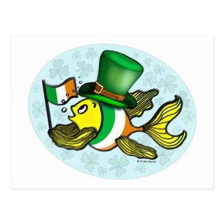 IRISH FLAG FISH funny cute Fish with Ireland flag Postcard