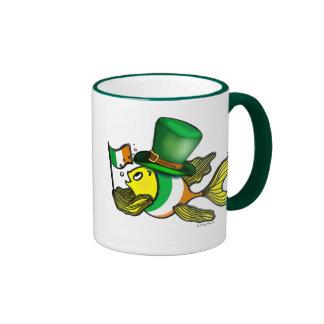 IRISH FLAG FISH funny cute Fish with Ireland flag Ringer Mug