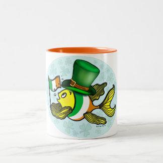 IRISH FLAG FISH funny cute Fish with Ireland flag Two-Tone Coffee Mug