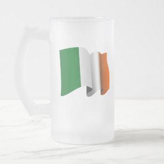 Irish Flag Frosted Glass Beer Mug