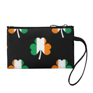 Irish Flag-Green/White/Orange-Colored Shamrocks Coin Wallet