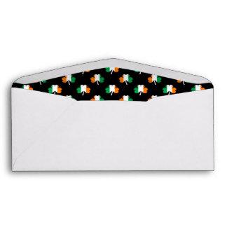Irish Flag-Green/White/Orange-Colored Shamrocks Envelope