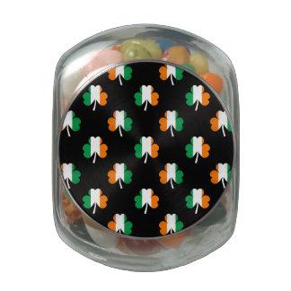 Irish Flag-Green/White/Orange-Colored Shamrocks Glass Jars