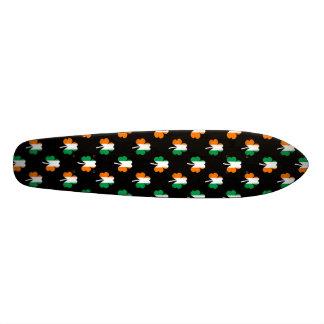 Irish Flag-Green/White/Orange-Colored Shamrocks Custom Skate Board
