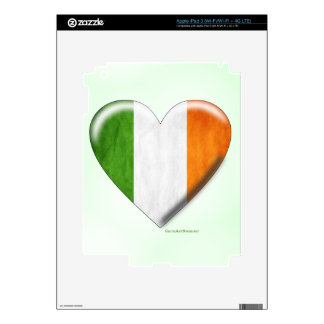 Irish Flag Heart Collage Decals For iPad 3