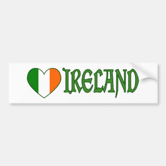 Irish Flag Heart Ireland Car Bumper Sticker