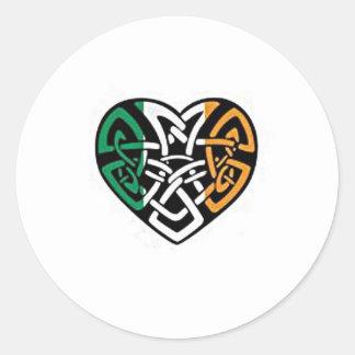 Irish Flag Heart Classic Round Sticker