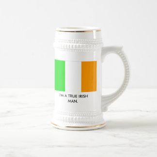 irish_flag, I'M A TRUE IRISH MAN. Beer Stein