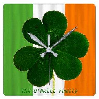 Irish Flag Ireland Shamrock Clover St. Patrick Square Wall Clock