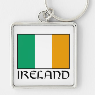 Irish Flag Silver-Colored Square Keychain