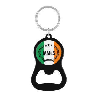 Irish flag keychain bottle opener with custom name for St Patrick's Day